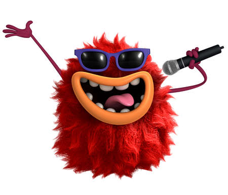 rode cartoon harige monster 3D Stockfoto