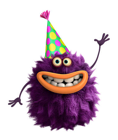 cartoon hat: purple cartoon hairy monster 3d Stock Photo