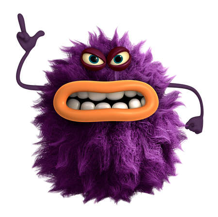 purple cartoon hairy monster 3d Standard-Bild