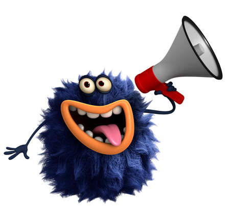 blue cartoon hairy monster Imagens