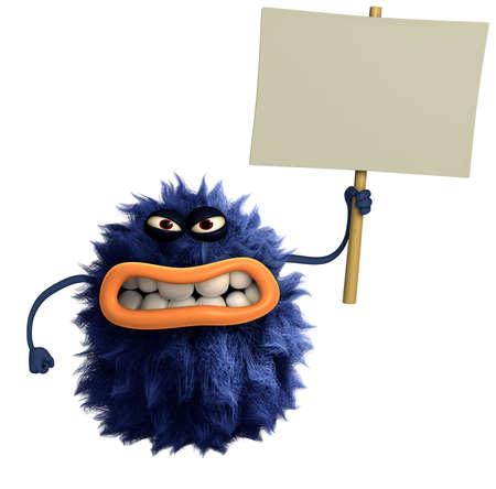 freaky: blue cartoon hairy monster 3d