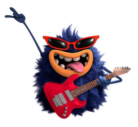 gitar: blue cartoon hairy monster 3d