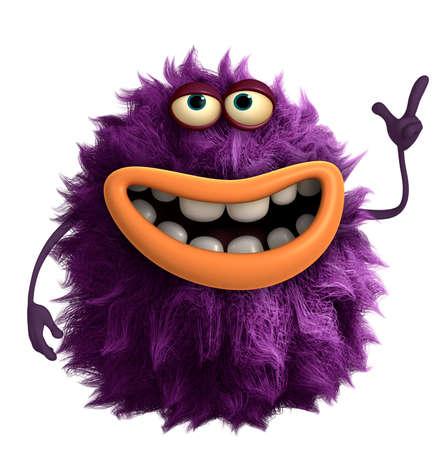 purple cartoon hairy monster 3d 写真素材