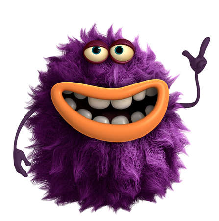purple cartoon hairy monster 3d Stock Photo