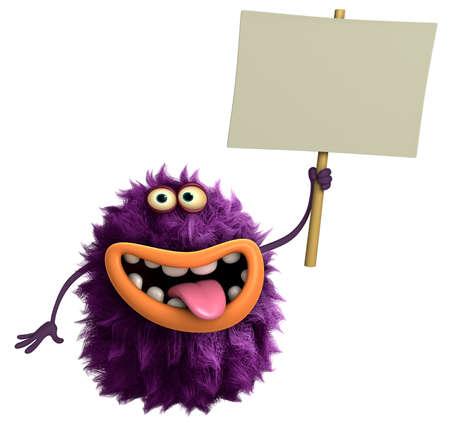 monster teeth: purple cartoon hairy monster 3d Stock Photo