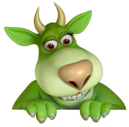 green cartoon monster 3d photo