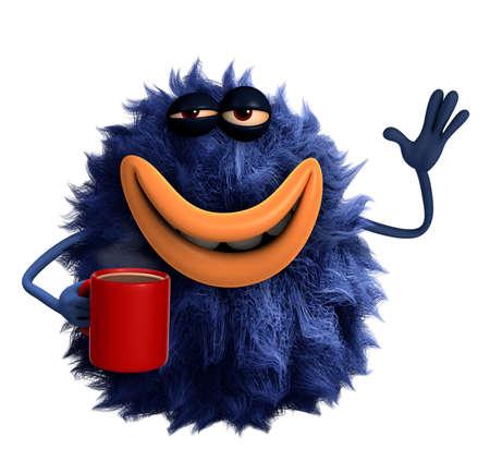 cofe: blue cartoon hairy monster 3d