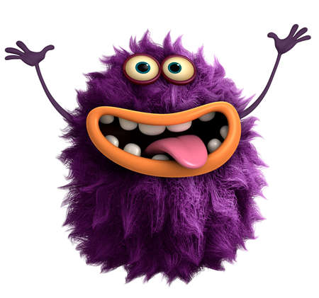 purple cartoon hairy monster 3d 版權商用圖片