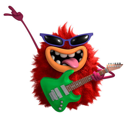 halloween ugly: red cartoon hairy monster 3d