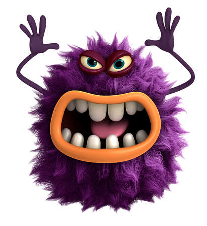 purple cartoon hairy monster 3d 스톡 콘텐츠