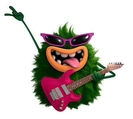 groene cartoon harige monster 3D Stockfoto