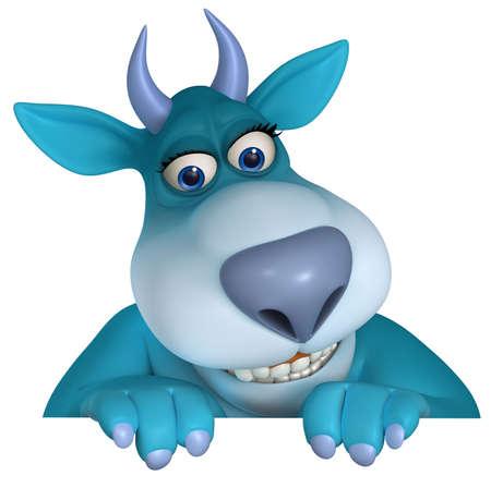 abominable: blue cartoon monster 3d Stock Photo