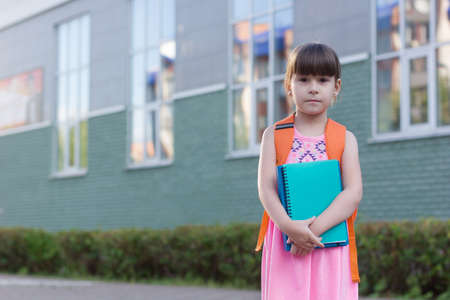 Cute little schoolgirl with backpack holding notebooks on the yard Reklamní fotografie