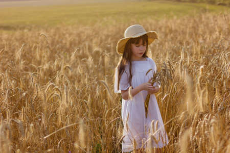 Happy girl in a hat stands in a field of ripe rye in the sunset light. Ears of wheat.