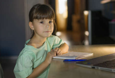 Distance learning education. Cute girl learn english language online with laptop at home. Little girl looks at the camera Reklamní fotografie