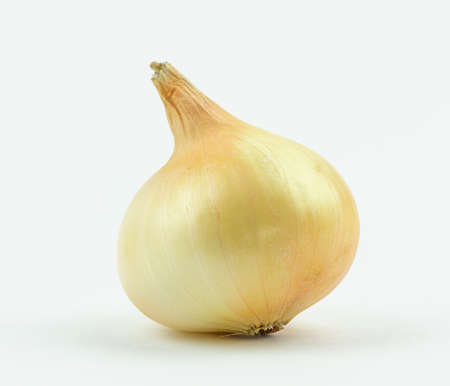 yellow onion isolated on white background close up.