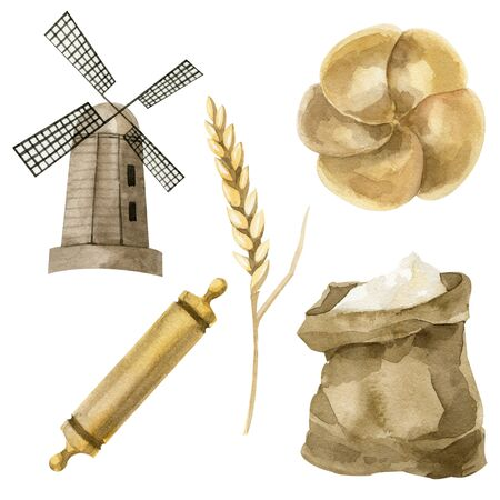 Watercolor set of bread. Mill, ear of wheat, rolling pin and bread. Isolated objects on white background