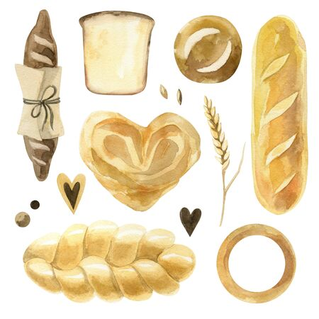 Watercolor set of bread. World bread day. Loaf, wheat, loaf, pretzel and croissant. Ideal for bakery decoration, advertising and packaging. Stok Fotoğraf