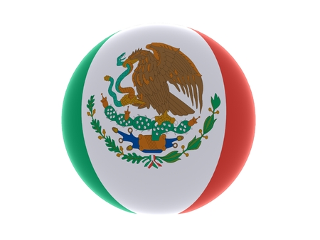drapeau mexicain: 3D drapeau mexicain sph�re isol� sur fond blanc Banque d'images