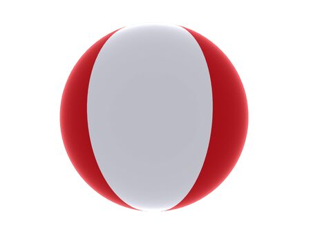 3D flag of Peru sphere isolated on white background photo