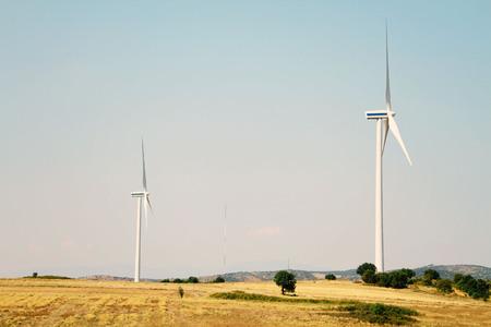energy production: Windmill, Wind energy production, green energy Stock Photo