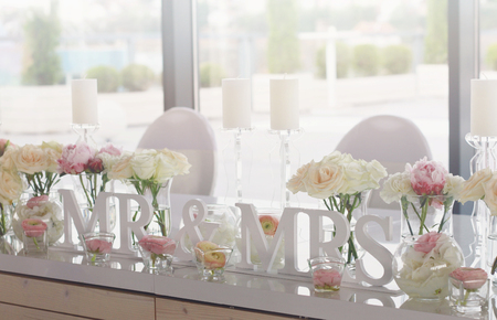 wedding table decor: Mr and mrs wedding table decorations