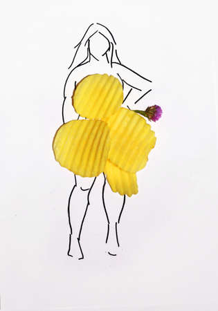 unhealthy lifestyle: Unhealthy lifestyle junk food concept. Handmade sketch of overweight woman wearing dress made from chips