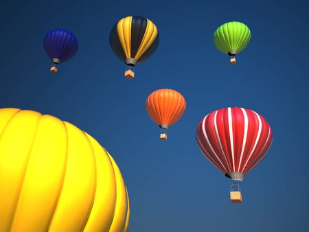 yellow adventure: Colorful hot air balloons over blue sky , 3d illustration Stock Photo
