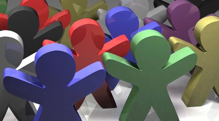 differed: tolerance concept, 3d people differed colors, we are all the same