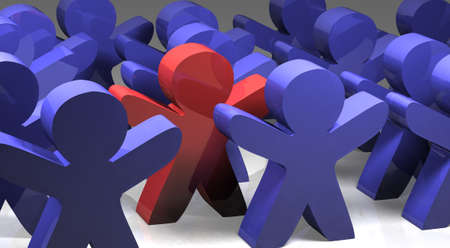 uniqueness: Individuality, uniqueness and leadership business concept: single red 3D man figure in crowded group of blue figures