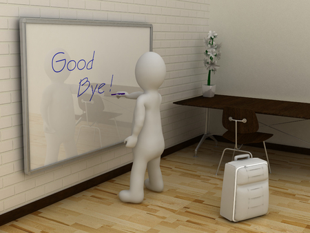good bye: 3D abstract white man writing good bye on whiteboard