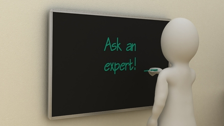 Abstract white man writing Ask an expert on board. Business concept.