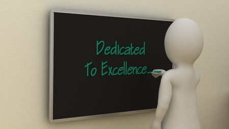 dedicated: Abstract white man writing dedicated to excellence on board. Business concept.