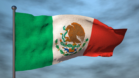 drapeau mexicain: Drapeau du Mexique sur le ciel backgroud, illustration 3d Banque d'images