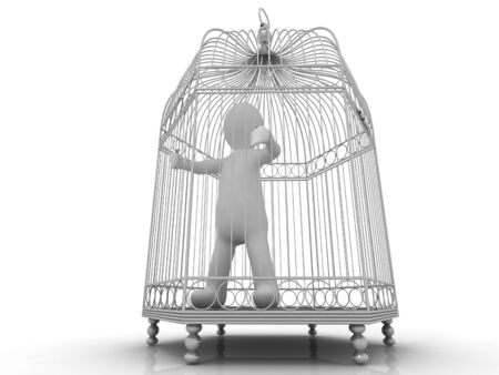 3D white man in cage