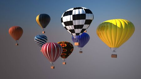 yellow adventure: Colorful hot air balloons over blue sky, 3d illustration Stock Photo