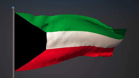 3d flag: 3D flag of Kuwait