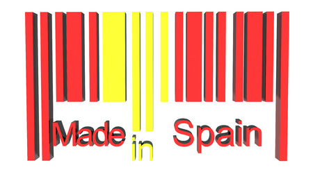 made in spain: 3D barcode made in Spain Stock Photo