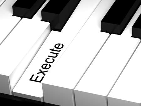 execute: 3D piano keyboard. Execute hot key on keyboard.