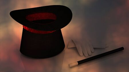 magician wand: Magician Hat with Magician Wand Stock Photo