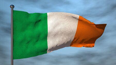 ireland flag: Ireland 3d flag on sky background