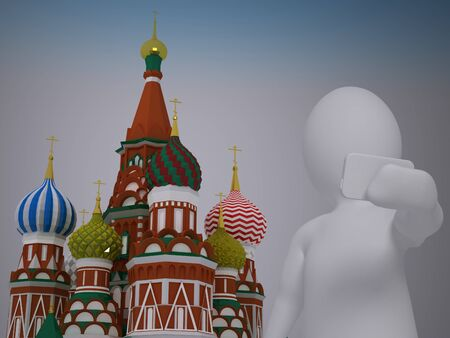 red square moscow: 3d abstract human, white man taking selfie in front of st basils cathedral on red square in moscow
