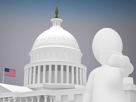 capital building: 3d abstract human, white man taking selfie in front of White house in Washington Stock Photo