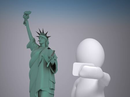 photo people: 3d abstract human, white man taking selfie in front of statue of Liberty Stock Photo