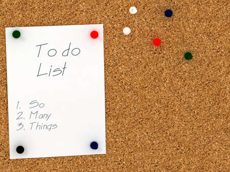 corkboard: Cork board with to do list template. So many things Stock Photo