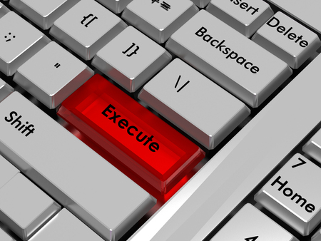 execute: Execute. Red hot key on computer keyboard Stock Photo
