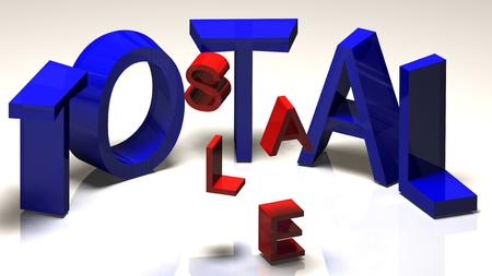total: Total sale 3d text  isolated on white
