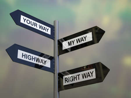 right of way: Crossroad signpost saying my way, your way, highway and right way.