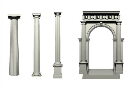 doric: Doric Greek style column, 3D image Stock Photo