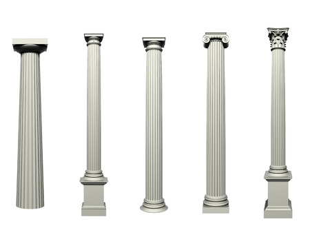 ionic: Set of Doric, Ionic and Corinthian Columns Stock Photo